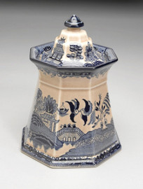 Blue and White Transferware Porcelain Jar, 8.5 Inches Tall