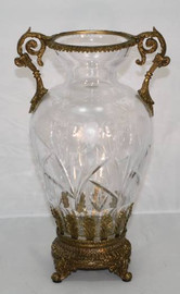 Italian White Cut Crystal d'Elegance and Gilt Bronze Ormolu, 10 Inch Vase