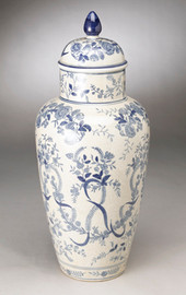 Blue and White Transferware Porcelain Jar - 18.5t X 8w X 8d
