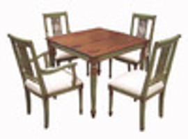 Custom Decorator - Hardwood Hand Carved Reproduction - Classic Dining | Breakfast 40 Inch Square Table - Light Carved