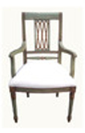 Custom Decorator - Hardwood Hand Carved Reproduction - Classic Dining | Accent 41.7 Inch Arm Chair - Carved Back and Upholstered Seat
