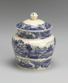 Blue and White Transferware Porcelain Jar, 8 Inches Tall