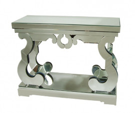 Silver Mirror - 43 Inch Entry Table Console - Modern Contemporary Style