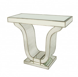 Silver Mirror - 42 Inch Entry Table Console - Modern Contemporary Art Deco Style