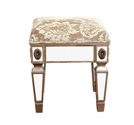 Silver Mirror - 18 Inch Bench, Vanity Stool - Louis XVI Neo Classical Style 5152 NB - X 01 UH