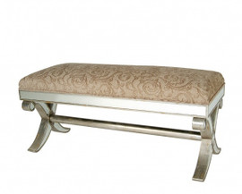 Silver Mirror - 43 Inch Bench - Louis XVI Neo Classical Style