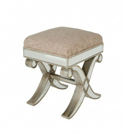 Silver Mirror - 18 Inch Bench, Vanity Stool - Louis XVI Neo Classical Style