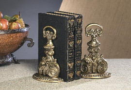 Bookends, Classic Design Antique Finished Indian Brass, Set of 2