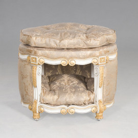 #Louis Style Dog House or Cat Condo - 24 Inch Bed with Tufted Cushion and Top - Painted White and Gold Trim Luxurie Furniture Finish - Damask Upholstery