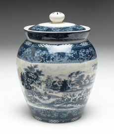 Blue and White Transferware Porcelain Jar, 9 Inches Tall
