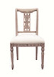 Custom Decorator - Hardwood Hand Carved Reproduction - Classic Dining | Accent 39.4 Inch Side Chair - Carved Back and Upholstered Seat