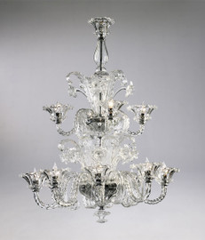 Daffodil Bella Pattern - Ice and Golden Teak Twelve Light Chandelier