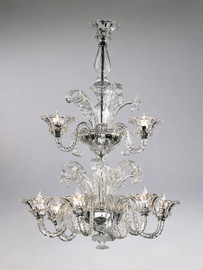 Daffodil Bella Pattern - Ice and Golden Teak Nine Light Chandelier