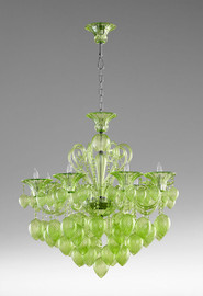 Transparent Lime Glass Chandelier - Bohemian Chic Style - Eight Lights