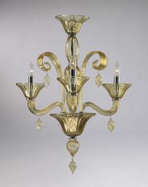 Transparent Golden Teak Glass Chandelier - Contemporary Style - Three Lights
