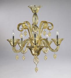 Transparent Golden Teak Glass Chandelier - Contemporary Style - Five Lights