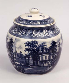 Blue and White Transferware Porcelain Tea Jar, 7.5 Inches Tall 7013 AAA