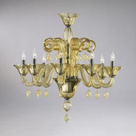Transparent Golden Teak Glass Chandelier - Contemporary Style - Eight Lights