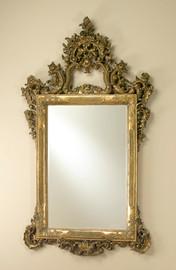 "Ornate Pediment Traditional 67"" Rectangular Bevel European Style Mirror - Parcel Gilt Finish, 5114"