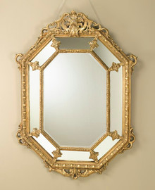"Acanthus Pediment Louis XIV 62"" Hexagon Bevel European Style Mirror - Gilt Finish, 5113"