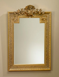 "Acanthus and Rosette 46"" Rectangular Bevel European Style Mirror - Parcel Gilt Finish, 5112"