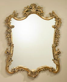 "Baroque Louis XIV Style 45"" Oblong European Style Mirror - Gilt Finish, 5111"