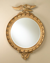 """Traditional Federal 52"""" Round Bevel Regency Style Mirror - Parcel Gilt Finish, 5115"""