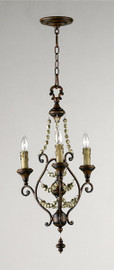 Francais Provencale Three Light Wrought Iron - 30.5 Inch Pendant Chandelier - Brun Dore Finish - Draped with Wood Beads