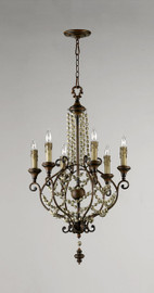 Francais Provencale Six Light Wrought Iron - 38 Inch Chandelier - Brun Dore Finish - Draped with Wood Beads