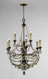 Francais Provencale Nine Light Wrought Iron - 45 Inch Chandelier - Brun Dore Finish - Draped with Wood Beads