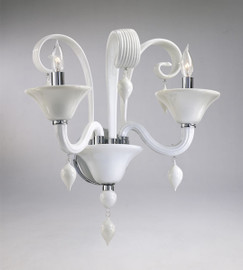 Gloss White Glass Wall Bracket Sconce - Contemporary Style - Two Lights