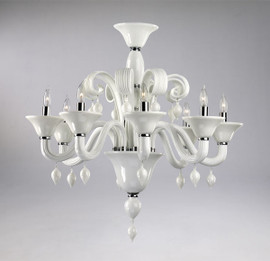 Gloss White Glass Chandelier - Contemporary Style - Eight Lights
