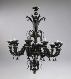 Ebony Black Finely Finished Glass Pagoda 59 Inch Chandelier - Contemporary Style - Ten Lights