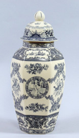Blue and White Transferware Porcelain Jar, 14 Inches Tall