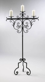Tall Wrought Iron 59 Inch, Pillar Candle Torchere | Floor Candelabrum, Antique Rust Finish