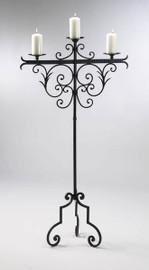 Tall Wrought Iron 59 Inch, Pillar Candle Torchere | Floor Candelabrum, Antique Rust Finish, 5091