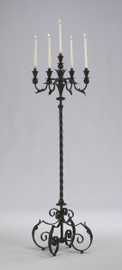 Tall Wrought Iron 60 Inch, Taper Candle Torchere | Floor Candelabrum, Antique Rust Finish