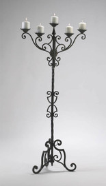Iron Scroll 56.5 Inch Tall, Five Pillar Candle Floor Candelabrum, Antique Patina Finish, 5089