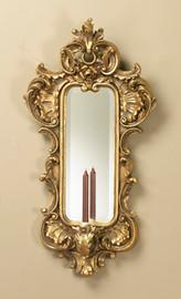 "Louis XV Rococo Girandole, 35"" Bevel Glass Mirror Wall Bracket Taper Candle Sconce, Parcel Gilt Finish, 5087"