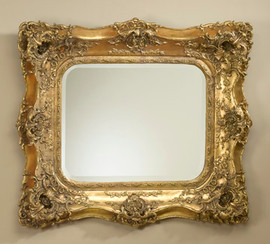 "Rococo Louis XV 39"" Cushion Bevel European Style Mirror - Gilt Finish, 5086"