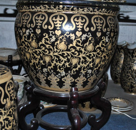 Ebony Black and Gold Lotus Scroll - Luxury Hand Painted Reproduction Chinese Porcelain - 30 Inch Fish Bowl Planter or Table Base Style 35