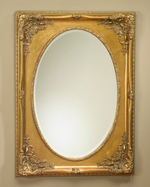 """Traditional 45"""" Oval Bevel European Style Mirror - Parcel Gilt Finish, 5084"""