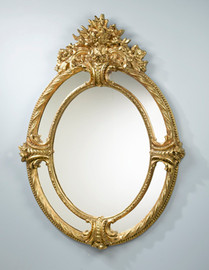 """Fanciful Ornate Floral Bouquet - 55"""" Oval Mirror - Parcel Gilt Finish, 5081"""