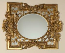 "Rococo Louis XV 28"" Oval Bevel European Style Mirror - Gilt Finish, 5083"