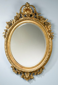 """Rococo Louis XV 47"""" Oval Bevel European Style Flowers and Garland Mirror - Parcel Gilt Finish, 5080"""