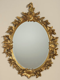 """Fanciful Ornate Floral Garland - 42"""" Oval Bevel Mirror - Parcel Gilt Finish, 5082"""
