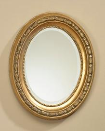 "Napoleon Empire 20"" Oval Bevel European Style Mirror - Gilt Finish, 5079"