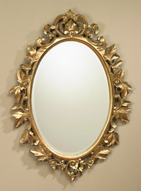"""French Regence 41"""" Oval Bevel European Style - C Scroll, Leaves, and Blossoms Mirror - Gilt Finish, 5077"""