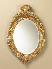 "Baroque Louis XIII 39"" Oval Bevel European Style Cartouche Mirror - Gilt Finish, 5076"
