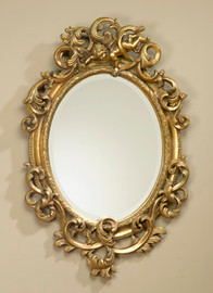 "Rococo Louis XV 35"" Oval Bevel European Style Putto Mirror - Parcel Gilt Finish, 5075"